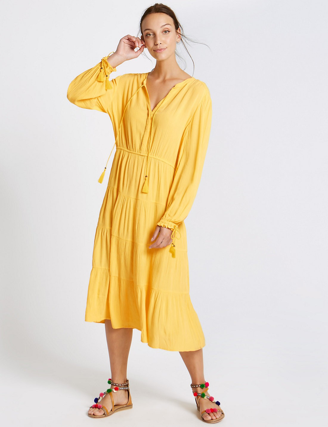 tiered yellow dress