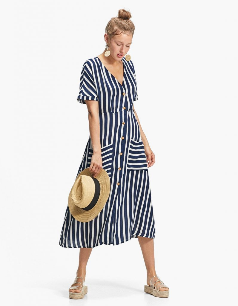Striped Button Dress