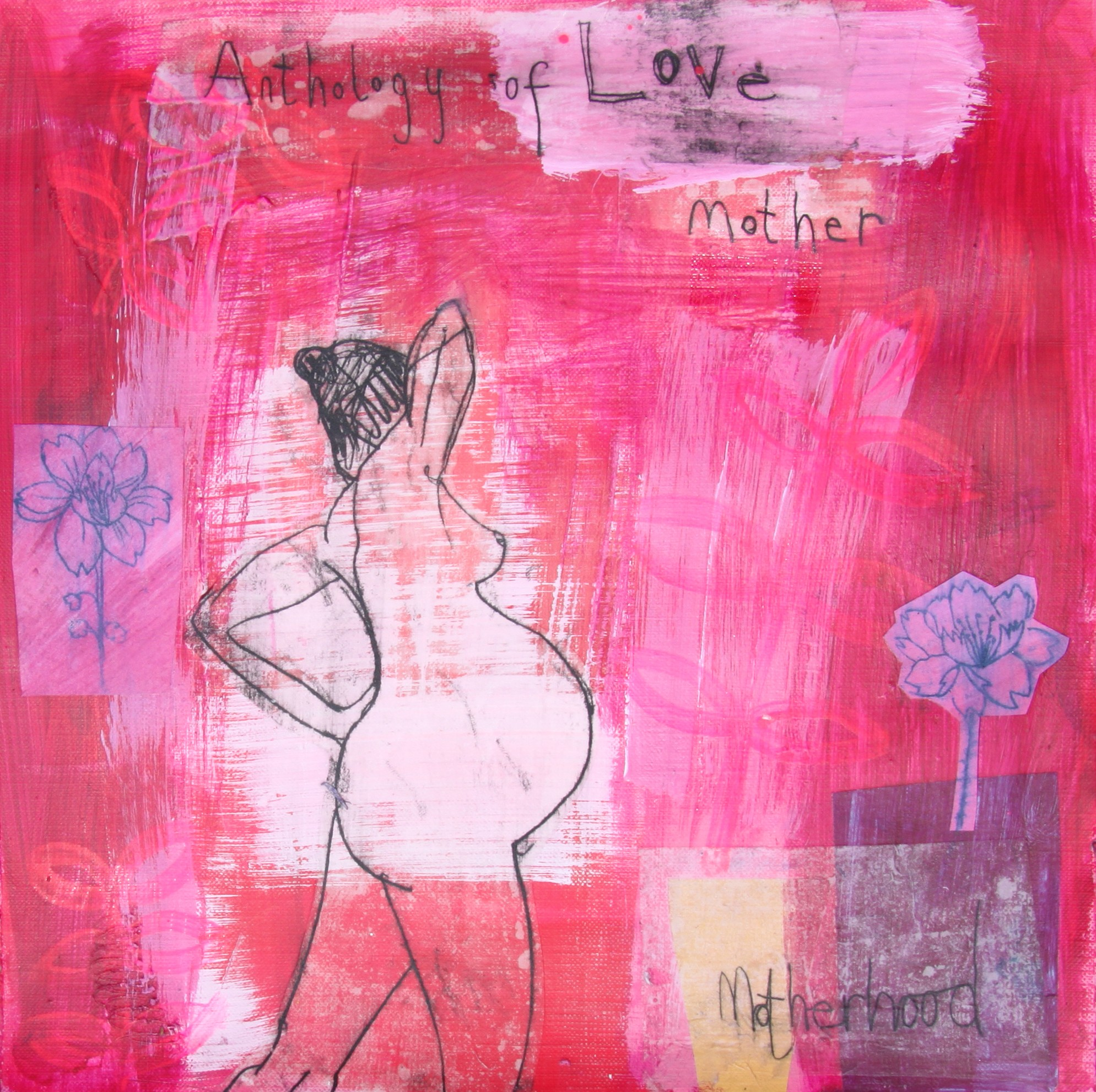 Transition to motherhood 30 x 30 cms mixed media on paper by Clare Haxby