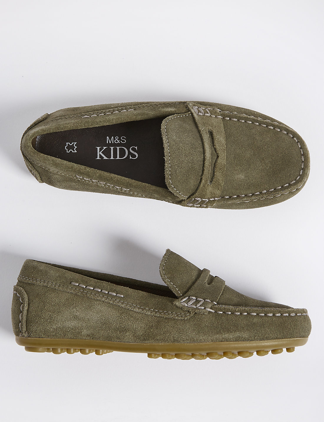Boys Grey Suede Driving Shoes