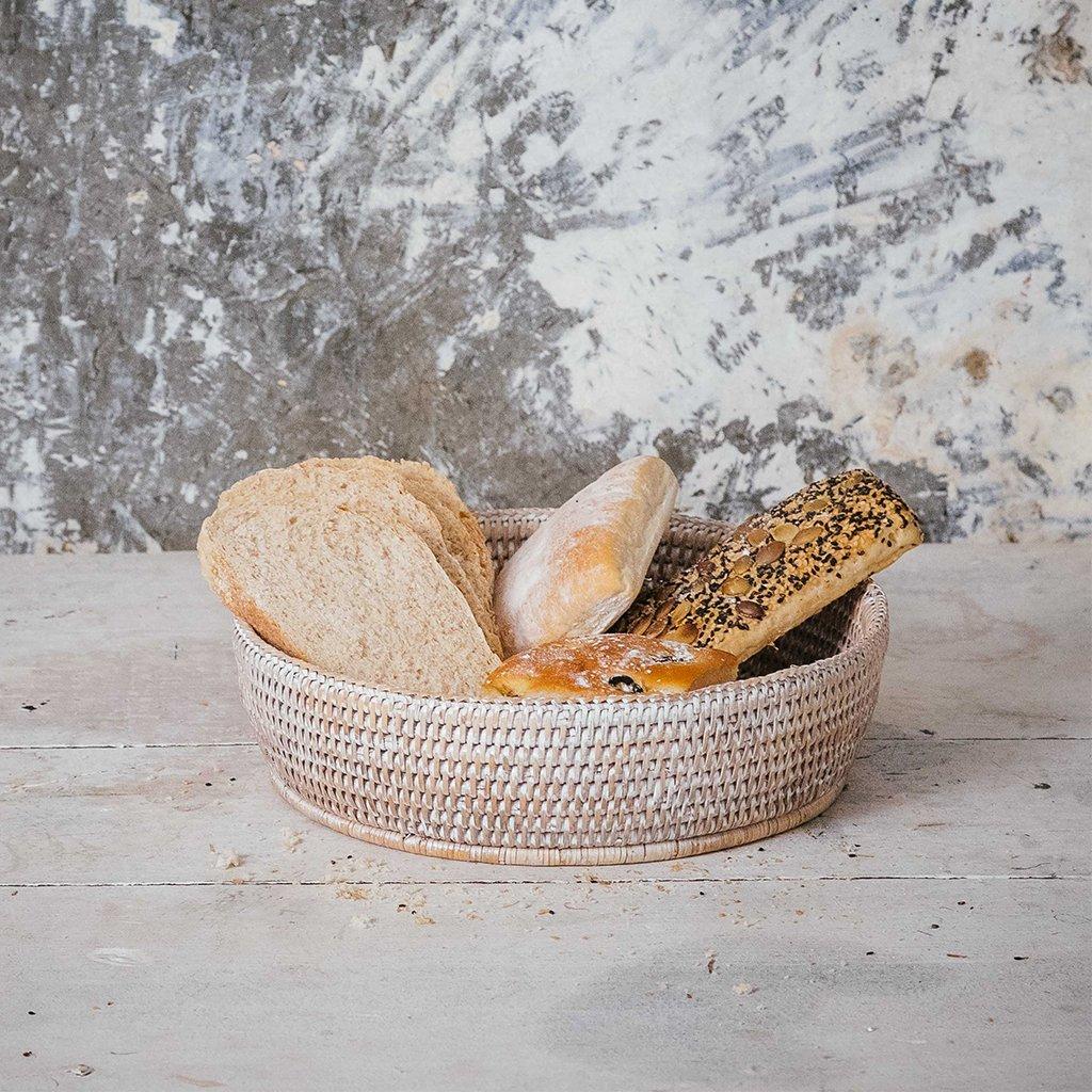 White Rattan Bread Basket