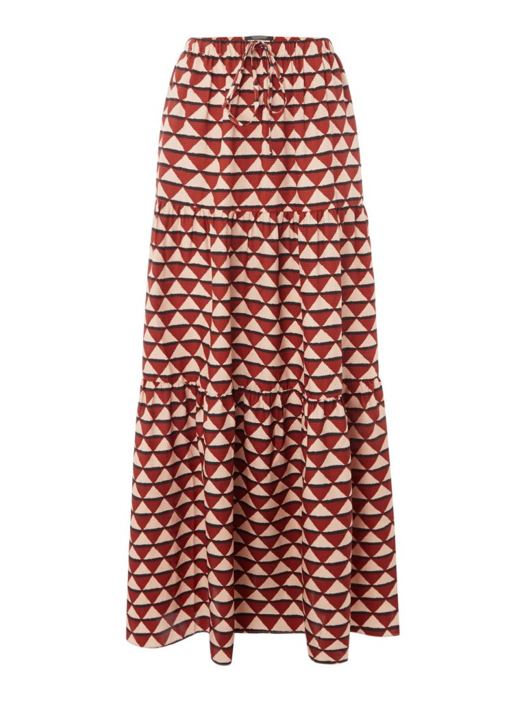 Tiered Printed Maxi Skirt